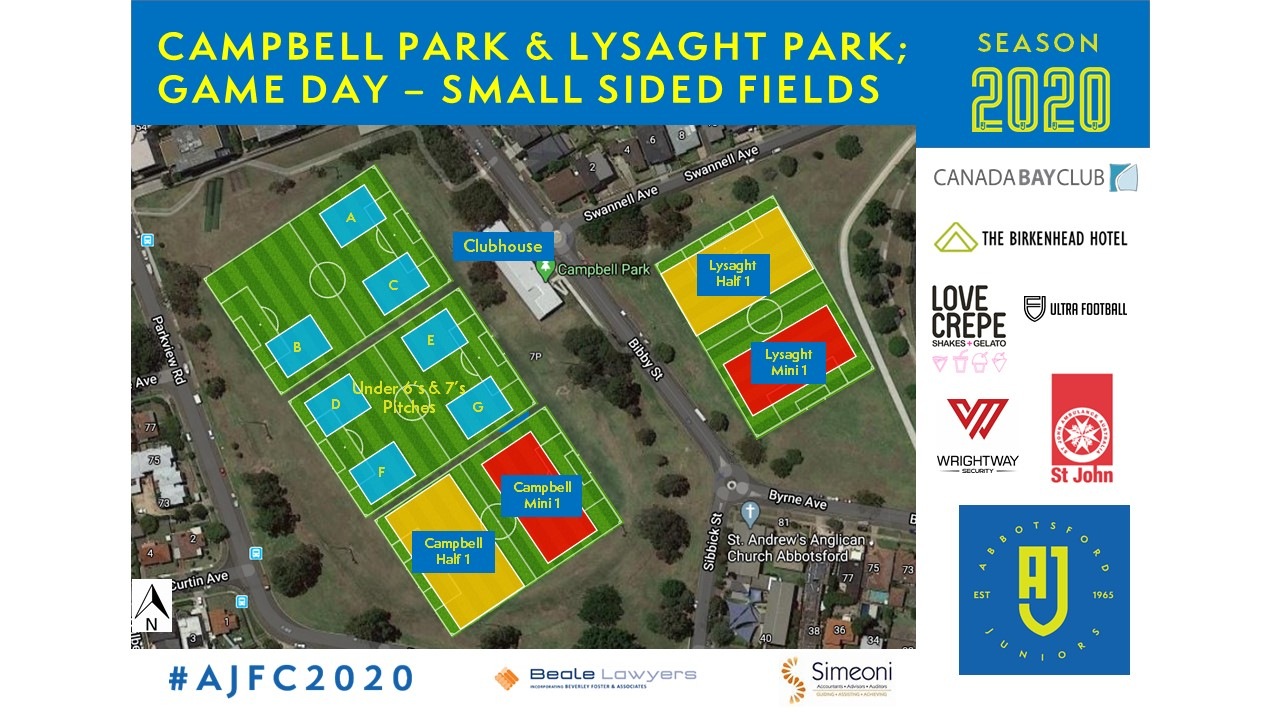 AJFC Small Side Pitches Setup for Campbell Park and Lysaght Park
